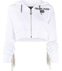 philipp plein crystal-fringe hoodie - white