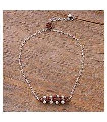 sterling silver pendant bracelet, 'gleaming beads in chestnut' (peru)