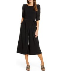 women's eliza j ruched sleeve jersey crop jumpsuit, size x-small - black