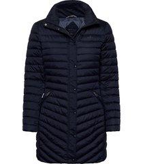 d1. light down coat gevoerde lange jas blauw gant