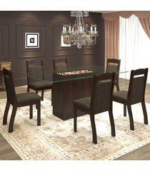 mesa de jantar 6 lugares tella ameixa/chocolate - mobilarte