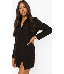 getailleerde wikkel blazer jurk, black