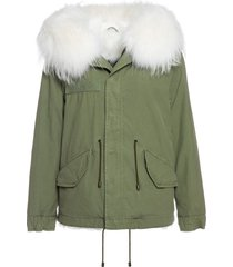 exclusive fw20 icon parka: army cotton canvas mini parka with fox fur lining