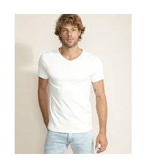 camiseta masculina super slim manga curta gola v branca