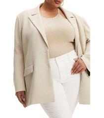 plus size women's good american drapey oversize blazer, size 5/6 - beige