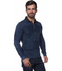 camisa polo links le tisserand azul stoned