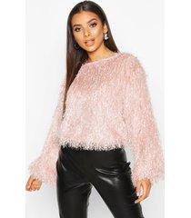 feather knit sweater, blush