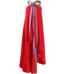 monse grosgrain tie flared dress