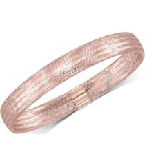 italian gold stretch bangle bracelet in 14k yellow, white or rose gold, made in italy