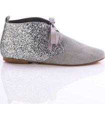 buty płaskie szaro brokatowe