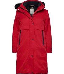 coats woven parka lange jas jas rood esprit casual