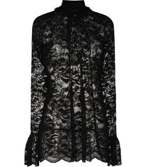 paco rabanne floral lace semi-sheer blouse - black