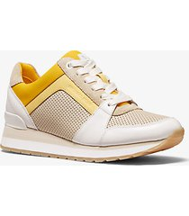 mk sneaker billie in pelle tricolore - ecru multi - michael kors