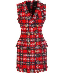balmain tartan tweed dress
