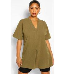 plus longline tunic blouse, khaki