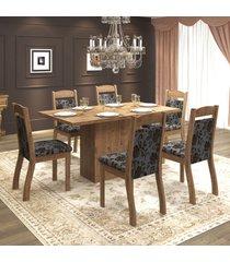 mesa de jantar 6 lugares tafetá dover/cobre - mobilarte móveis