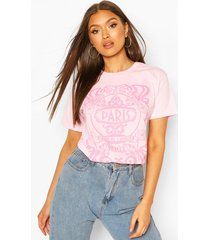 paris graphic printed t-shirt, pink