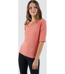 camiseta unicolor para mujer color naranja, talla 10