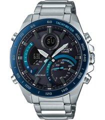edifice men's analog-digital silver-tone resin bracelet watch 48mm
