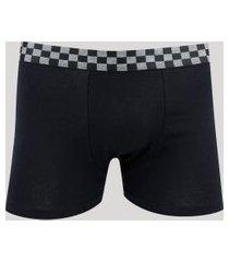 cueca boxer masculina com elástico quadriculado preta