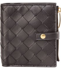 bottega veneta black braided leather mini wallet