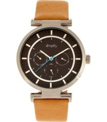 simplify quartz the 4800 black dial, genuine khaki leather watch 44mm