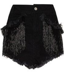 angel chen beaded tassel denim shorts - black