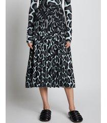 proenza schouler animal jacquard knit pleated skirt mint/grey/black m