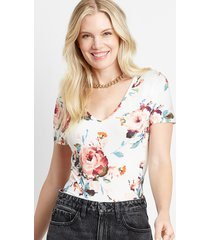 maurices womens 24/7 white floral tuck in tee