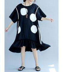 casual polka dot stampa vestito da donna a mezza manica a mezza manica pieghettata