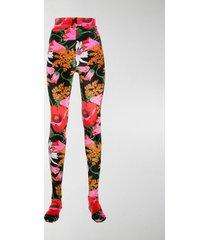 richard quinn rose-print velvet leggings