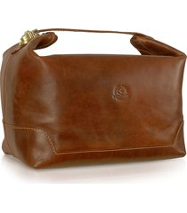 chiarugi designer travel bags, handmade brown genuine italian leather toiletry travel case