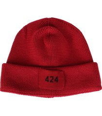 fourtwofour on fairfax red wool beanie hat