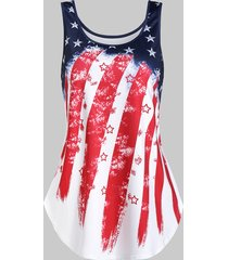 american flag print curved hem tank top