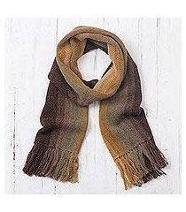 men's 100% alpaca scarf, 'cliffside stripes' (peru)