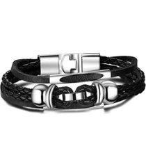 manilla pulsera vintage cuero multicapa trenzada bl-401 interlock