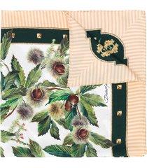 dolce & gabbana chestnut print silk scarf - green