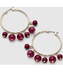 lane bryant women's beaded hoop earrings - fuchsia no festival fuchsia