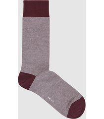 reiss tom - herringbone socks in burgundy, mens