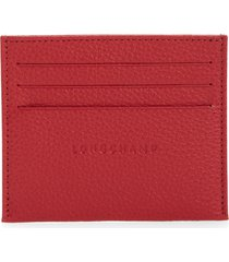 women's longchamp le foulonne leather slim card case - red