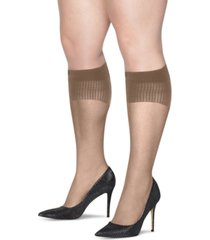 hanes plus size 2-pk. curves sheer knee socks