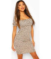 dalmatian print gypsy top mini dress, stone