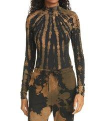 women's cotton citizen brisbane turtleneck bodysuit, size large - brown