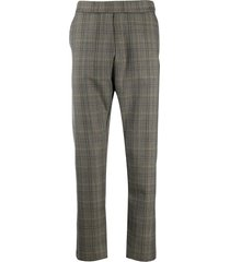 barena tartan drop-crotch trousers - brown