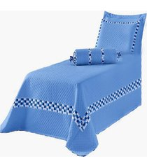 cobre leito solteiro thierry kit colcha 5 peã§as azul - multicolorido - dafiti