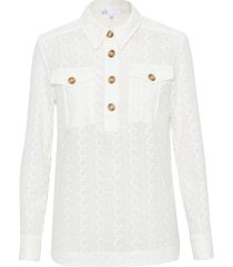 camisa feminina bordado karin - off white