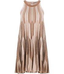 d.exterior lurex knit flared mini dress - neutrals