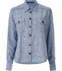 eva button-up long-sleeve shirt - blue