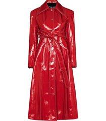 angel chen tie-waist trench coat - red