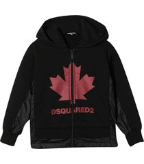 dsquared2 black teen hoodie with frontal logo
